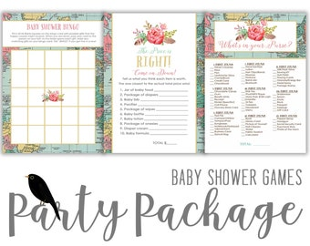 travel theme baby shower party package game world map boho chic coed couples BINGO Price is Right What's in your purse | 370 Katiedid Design