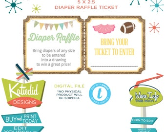 touchdowns or tutus gender reveal baby shower rustic chic lace burlap boots or bows Diaper raffle ticket wipe | 1431 katiedid designs