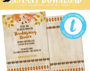 Thanksgiving invitation BOHO chic, fall baby shower invitation, editable templett | 872 Katiedid Designs