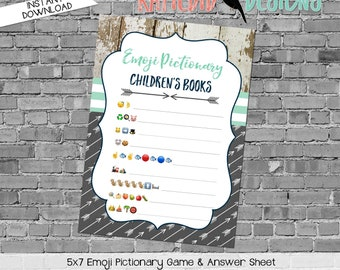 emoji pictionary children's books baby shower game tribal rustic navy mint gray boy party couples coed arrows wood | 12120 Katiedid Designs