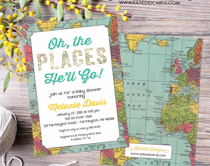 Featured listing image: Adventure awaits baby shower invitation Oh the places you'll go birthday World map travel theme gender neutral graduation | 1294 Katiedid
