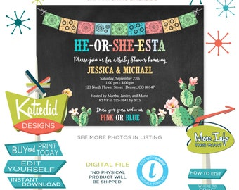 Fiesta Baby Shower Invitation, Taco Bout Baby, He or She Esta Mexican Papel Picado and Cactus | 1490 Katiedid Designs