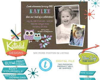 Owl Birthday Invitation with Child's Photo, Purple and Aqua Blue Owl Invite for Little Girl | 257 Katiedid Designs
