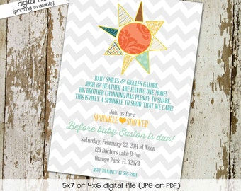 Gender reveal invitation sprinkle baby shower couples coed boy neutral you are my sunshine brighter than the sun gay | 1249 Katiedid designs