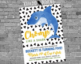 Shark Birthday invitation triangle confetti baby shower boy couples coed diaper wipes nautical sprinkle blue yellow | 2004 Katiedid Designs