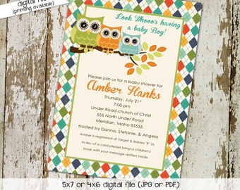 owl baby shower invitation gender reveal twins boy orange green blue argyle couples coed diaper wipes books brunch | 1265 Katiedid Designs