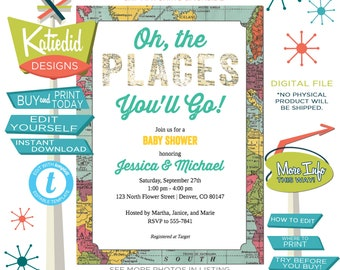 Baby Shower Invitation Gender Neutral, Hot Air Balloon Invitation Travel Theme Party Adventure Awaits | 1294 Katiedid Designs