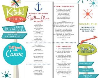LDS Baptism Program, Anchor Mormon Christening, Great to be 8 eight, Editable | 704 Katiedid design