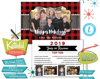 Buffalo Plaid Year in Review Christmas Card with Photos, Highlights of the Year Holiday Newsletter | 835 Katiedid Designs