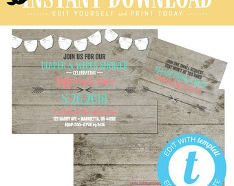 Gender reveal invitation twin diaper wipe BOHO baby shower chic mint coral couples brunch neutral coed sprinkle sip editable | 1417 Katiedid