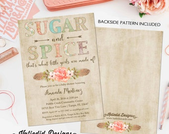Sugar and spice baby shower invitation Boho tribal Rustic girl couples coed diaper wipes sip see sprinkle floral feather | 1311 Katiedid