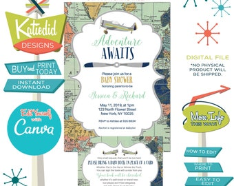 Adventure awaits baby shower invitation Vintage airplane Travel Theme sip see boy twin birthday oh places you go graduation | 12124 Katiedid