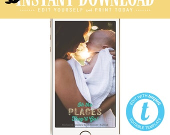 Snapchat geofilter Adventure awaits baby shower invitation World map Hot air balloon Travel Theme oh places you'll go boy | 1294 Katiedid