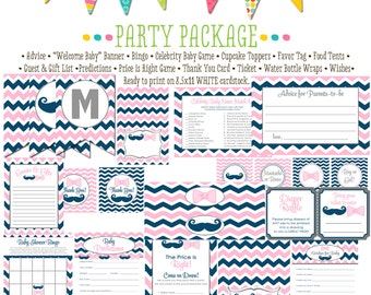 surprise gender reveal mustache or bows navy pastel pink chevron baby shower party package gender reveal party game 1444 Katiedid designs