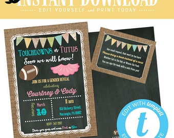touchdown or tutu gender reveal invitation twin football baby shower boy girl birthday chalkboard burlap couple editable | 1431 Katiedid