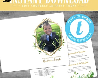 LDS baptism program, foliage gold geometric frame mormon baptism picture photo girl boy editable funeral | 718 Katiedid designs