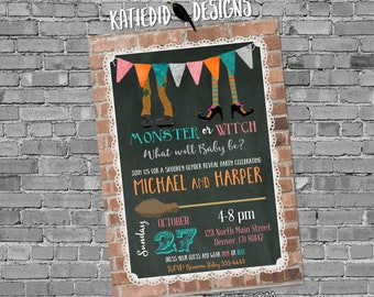 Fall Gender Reveal Invitation, Halloween Party, Chalkboard Coed Baby Shower, Witch Monster | 14002 Katiedid Designs