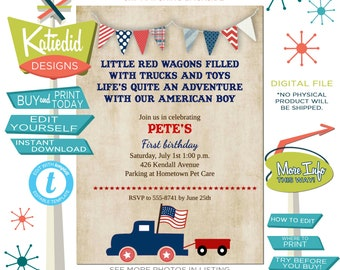 4th of July Birthday Invitation, Baby Shower BBQ, All American Boy Patriotic Flag, Red Wagon | 238b Katiedid Designs