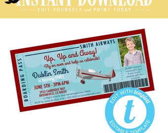 Travel Theme Boy Birthday Invitation, Airplane adventure awaits Baby Shower Invite with ultrasound photo  | 226 Katiedid Designs