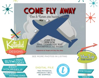 Vintage Airplane Invitation for Baby Boy Shower, Travel Theme Party, Adventure Awaits Twins, Red White Blue | 12130 Katiedid