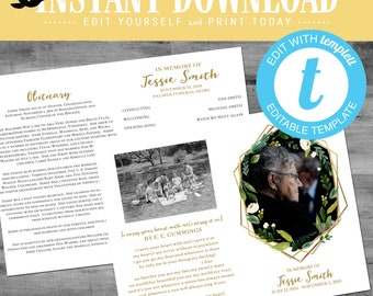 funeral program template, LDS baptism program, white flower gold geometric frame picture photo editable   719 Katiedid designs