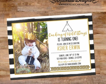 where the wild things are invitation, wild one birthday boy, storybook baby shower | 292 Katiedid Designs