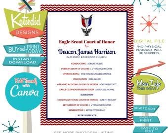 Eagle Scout Court of Honor Program, LDS baptism program mormon, templett editable   603 Katiedid designs
