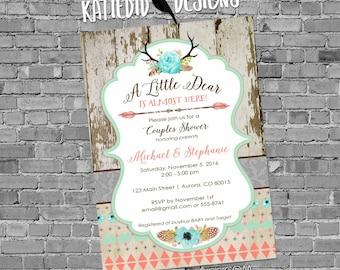 woodland baby shower invitation couples girl boho chic tribal rustic little deer antler floral coed diaper wipe brunch | 1382 Katiedid Cards