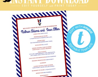 Eagle Scout Court of Honor Program, LDS baptism program mormon, templett editable | 602 Katiedid designs