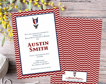 Eagle scout court of honor graduation invitation patriotic LDS announcement high school Boy teenager birthday Mormon | 603 Katiedid Designs