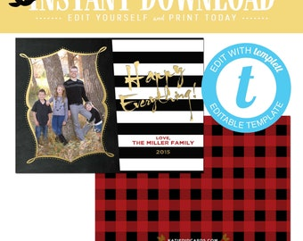 buffalo plaid christmas, christmas cards with photo, lumberjack rustic picture templett | 867 Katiedid