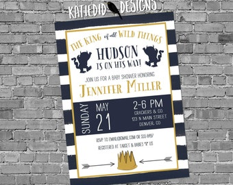 where the wild things are baby shower invitation rumpus birthday navy white stripe tribal arrow king gender boy girl | 12125 Katiedid Cards