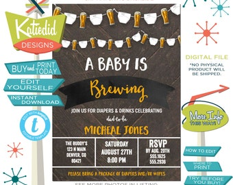 Baby Shower Invitation Gender Neutral, Brewing Beer and Diapers Man Shower Gender Reveal | 1493 Katiedid designs