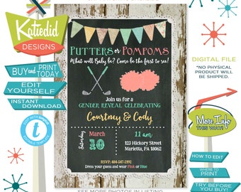 Golf Gender Reveal Invitation Putters or Pompoms, Baby Shower Gender Neutral, Twins Birthday Party | 1470 Katiedid