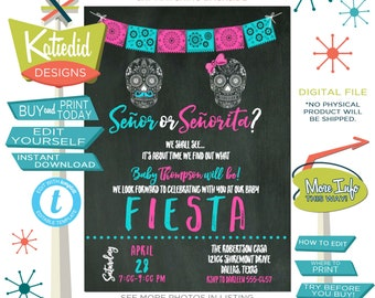Fall Baby Shower Invitations, Fiesta Gender Reveal, Senior or Seniorita Day of the Dead Halloween | 1461 Katiedid Designs