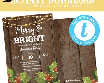 Christmas Party Invitations with mistletoe and lights, Merry and Bright editable templett | 800 Katiedid