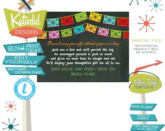 Display Shower Insert, Unwrapped Gift Enclosure Card, Fiesta Bridal Shower | 301 katiedid designs