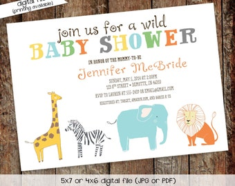 elephant baby shower invitation safari giraffe zebra lion boy sprinkle sip see diaper wipes brunch gender neutral coed | 1278 Katiedid Cards