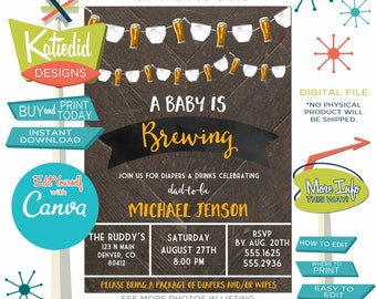 Diapers and Beer Baby Shower for Men Dad-to-be, Gender Neutral Couples Shower | 1493 Katiedid designs