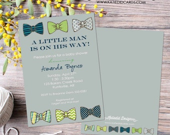 bow tie baby shower invitation little man gentleman oh boy coed sip see diaper wipe first communion baptism birthday | 1201 Katiedid Designs