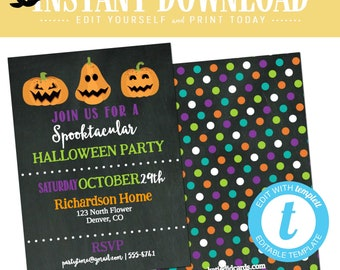 Halloween Party Invitation, Fall Birthday, Adults Only Jack o lantern Polka Dots l | Katiedid cards