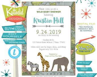 Travel Theme Baby Shower Invitation, Rustic Twin Baby Boys Birthday, Adventure Awaits Safari | 12115 Katiedid cards