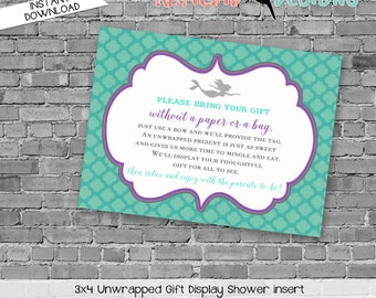 Display shower insert Unwrapped gift enclosure card Mermaid baby shower invitation Purple teal mermaid invitation | 1365 Katiedid Designs