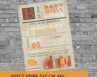 Fall Baby Shower Invitation, Storybook baby boy, Pumpkin Orange Halloween Party | 12123c Katiedid