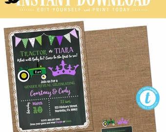 tractor or tiara gender reveal invitation baby shower neutral twin sprinkle couple burlap green purple editable chalkboard | 1403 Katiedid