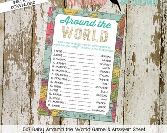 gender reveal party game around the world shower game Travel Themed oh the places you'll go Adventure Awaits world map 1294 Katiedid Designs