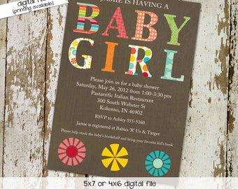 couples baby shower invitation coed girl rustic floral sip see sprinkle diaper wipes brunch birthday announcement | 138 Katiedid Designs