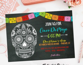 Fiesta Cinco de mayo Invitation tacos margaritas couples shower sugar skull bridal shower | 366 Katiedid Designs