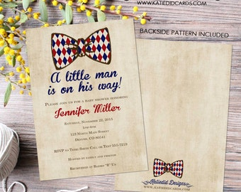 bow tie baby shower invitation little gentleman man couples coed christening baptism twins boy sprinkle sip see gay | 1292 Katiedid Designs