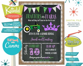 Gender Reveal Invitation Tractors or Tiaras, Twin Baby Shower or Birthday Party | 1403 Katiedid